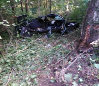 Wypadek na trasie Mikołajki-Łuknajno. Samochód uderzył w dwa drzewa [ZDJĘCIA]
