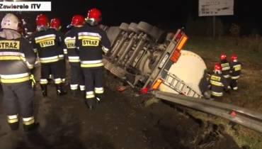 Wypadek cysterny na DK78 w Zawierciu [wideo]