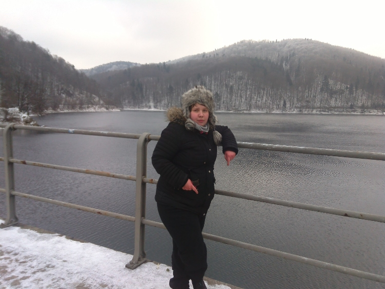 ja Dorota Ulanoska zwiedzam Zapore wodną na Jeziorze Bystrzyckim w zimowej atrakcji 2015