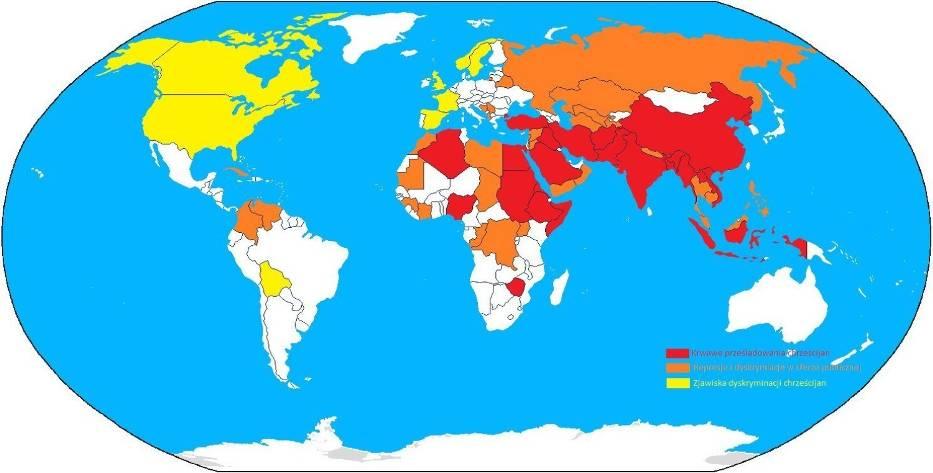 Mapa pokazują kraje, gdzie represjonowani są chrześcijanie: kolor czerwony - krwawe prześladowania chrześcijan, pomarańczowy - represje i dyskryminacja w sferze publicznej, żółty - zjawiska dyskryminacji chrześcijan