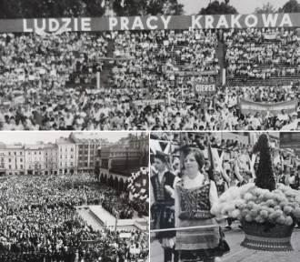 Pochody pierwszomajowe w Krakowie z lat 70. i 80. Tłumy ludzi [ZDJĘCIA]