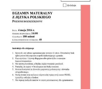 Matura 2016 polski rozszerzony