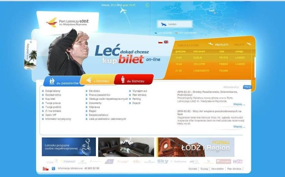 Nowa strona internetowa lotniska została podzielona na trzy działy: dla pasażerów, o lotnisku, dla biznesu