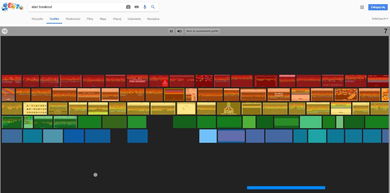 """Atari Breakout Kto pamięta tego popularnego arkanoida? Po wpisaniu """"atari breakout"""" w Google Grafika przeniesiemy się do starych, dobrych czasów"""