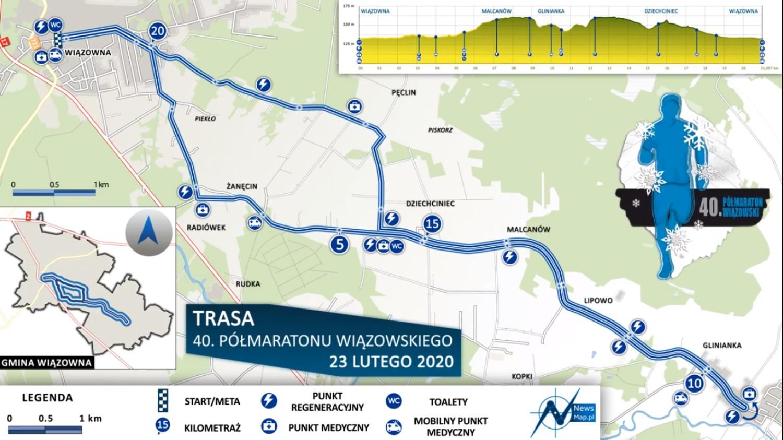 Półmaraton Wiązowski trasa