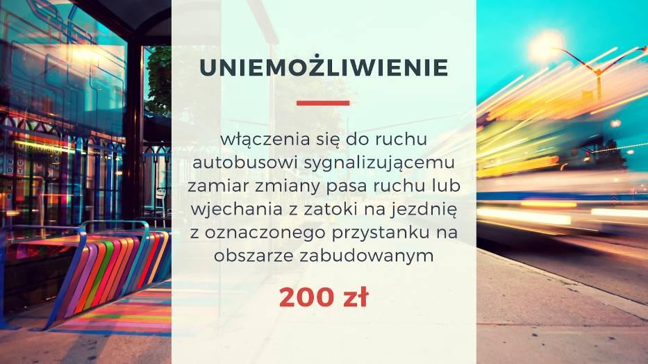 Uniemożliwienie włączenia się do ruchu autobusowi