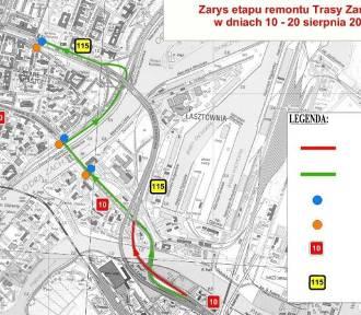 Poranek w Szczecinie. Remont Trasy Zamkowej i korki na Gdańskiej