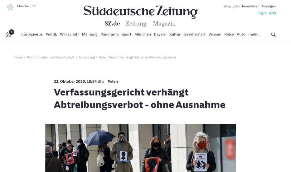 Florian Hassel z Süddeutsche Zeitung uważa, że wyrok TK będzie najprawdopodobniej zaskarżony do sądów europejskich