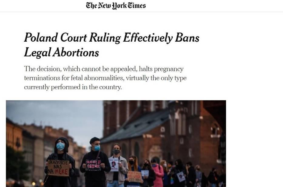 The New York Times podkreśla, że od decyzji Trybunału Konstytucyjnego nie można się odwołać
