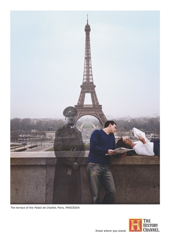 Paryż, taras Palais de Chaillot: 1940/2004Palais de Chaillot jest zespołem budynków usytuowanym na zboczu wzgórza Chaillot