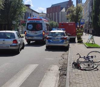 Potrącenie rowerzystki w centrum Jasła [ZDJĘCIA]