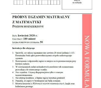 Matura próbna 2020 matematyka p. rozszerzony.  Arkusz CKE