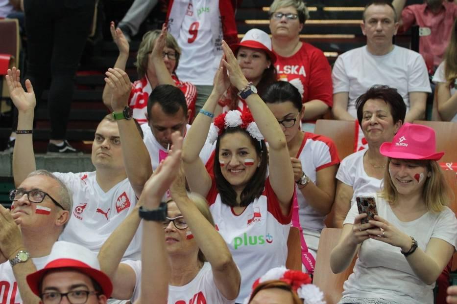 Kibice na meczu Polska - Brazylia