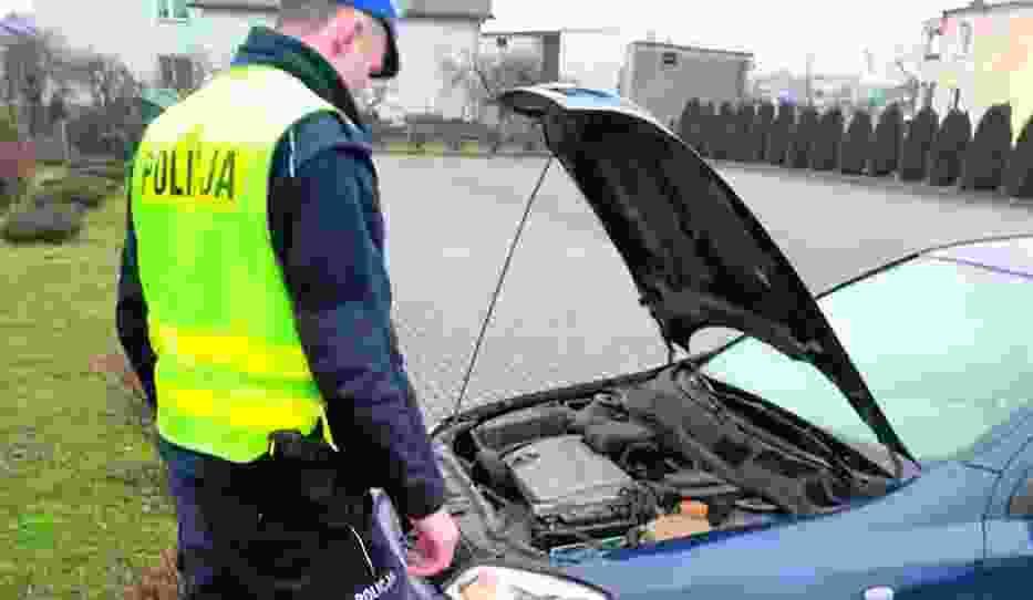 Funkcjonariusze w trakcie kontroli przyglądają się stanowi technicznemu pojazdów