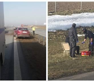 Funkcjonariusze z Rawicza widzieli wypadek na autostradzie. Pospieszyli z pomocą