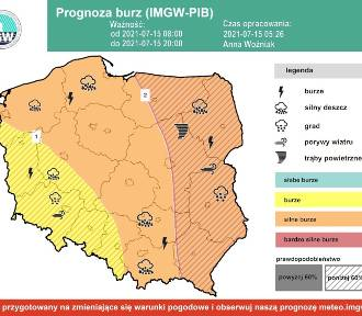 Powiat nowodworski. IMGW ostrzega, przed nami kolejny burzowy dzień