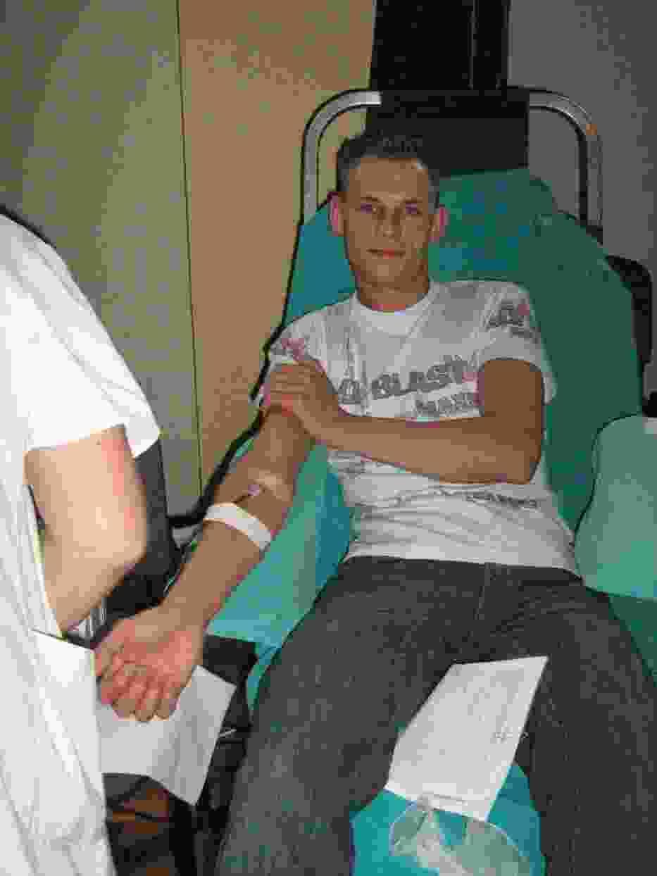 Sebastian Grzelewski, jeden z krwiodawców