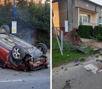 Samochód dachował w Dąbrowie Górniczej. Kierowca pijany