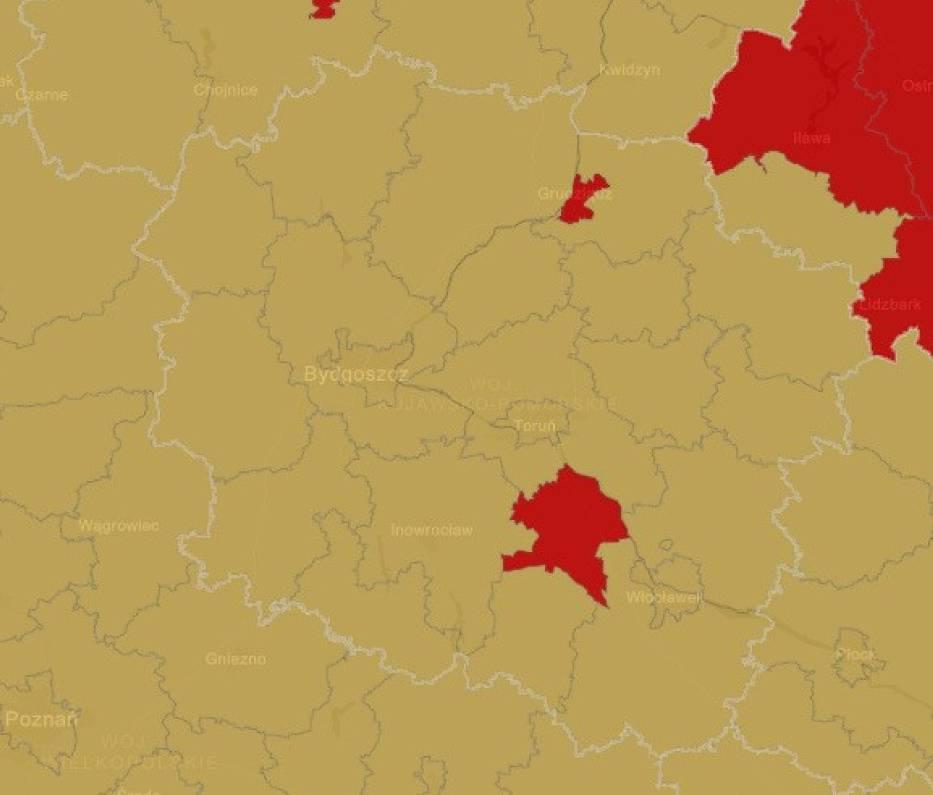 Województwo kujawsko-pomorskie Strefa czerwona: 2  powiaty- powiat aleksandrowski- m