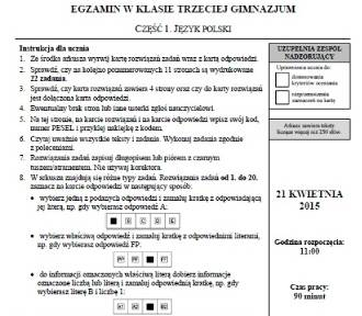 Testy gimnazjalne:polski ARKUSZE, ODPOWIEDZI