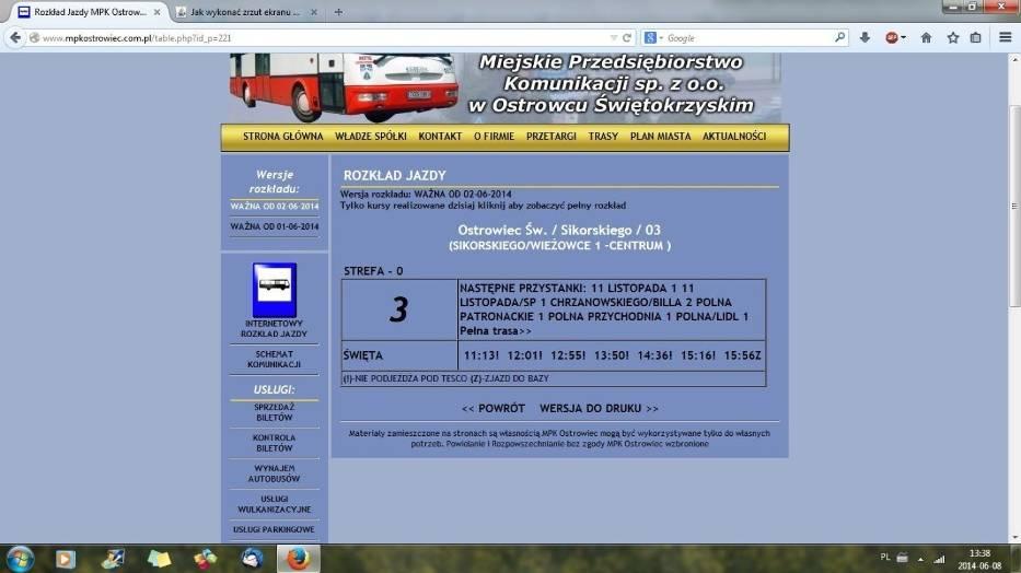 Rozkład jazdy ostrowieckiego MPK w dzień świąteczny z osiedla Rosochy