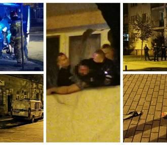 Mężczyzna szarpał się z policjantami na balkonie. Rzucał butelkami i klapkami