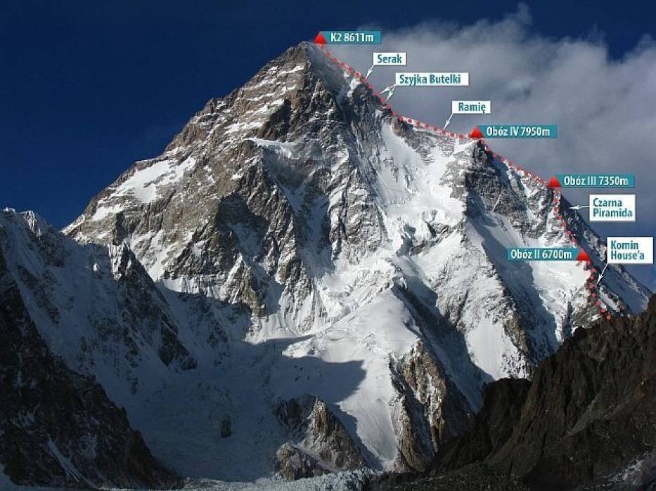 K2 z zaznaczoną trasą wyprawy