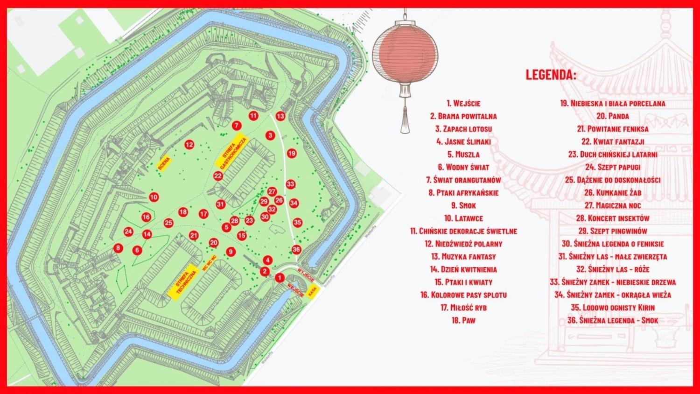 Chiński Festiwal Światła mapa