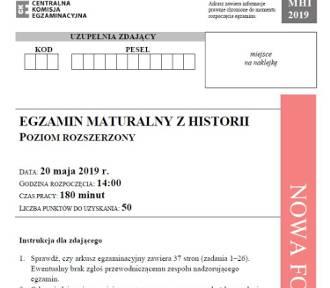 Matura 2019. Historia p. rozszerzony - arkusz, odpowiedzi
