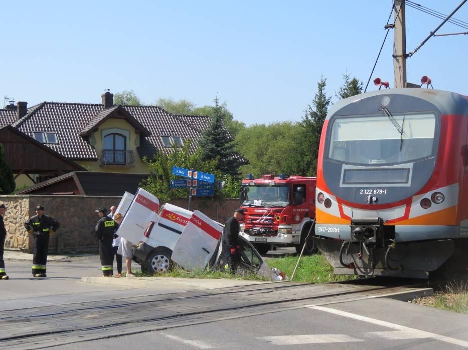 Pociąg osobowy zepchnął pocztowy samochód z torowiska