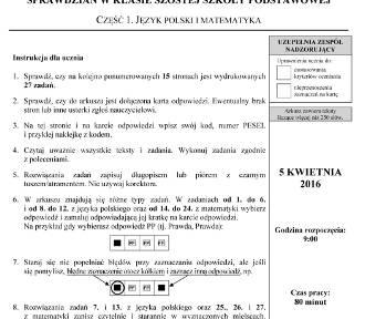 Sprawdzian szóstoklasisty 2016 - Część 1