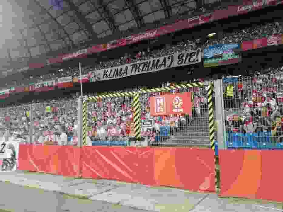 Na meczu Polska-Chile pojawił się transparent z poparciem dla zatrzymanego Piotra S