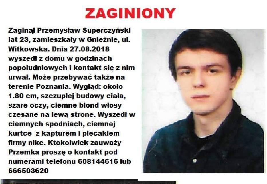 Poszukiwany Przemek Superczyński z Gniezna odnalazł się!