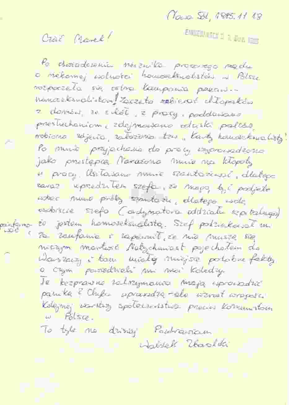 Scan listu, który Waldemar Zboralski wysłał zaraz po zatrzymaniu do wiedeńskich przyjaciół