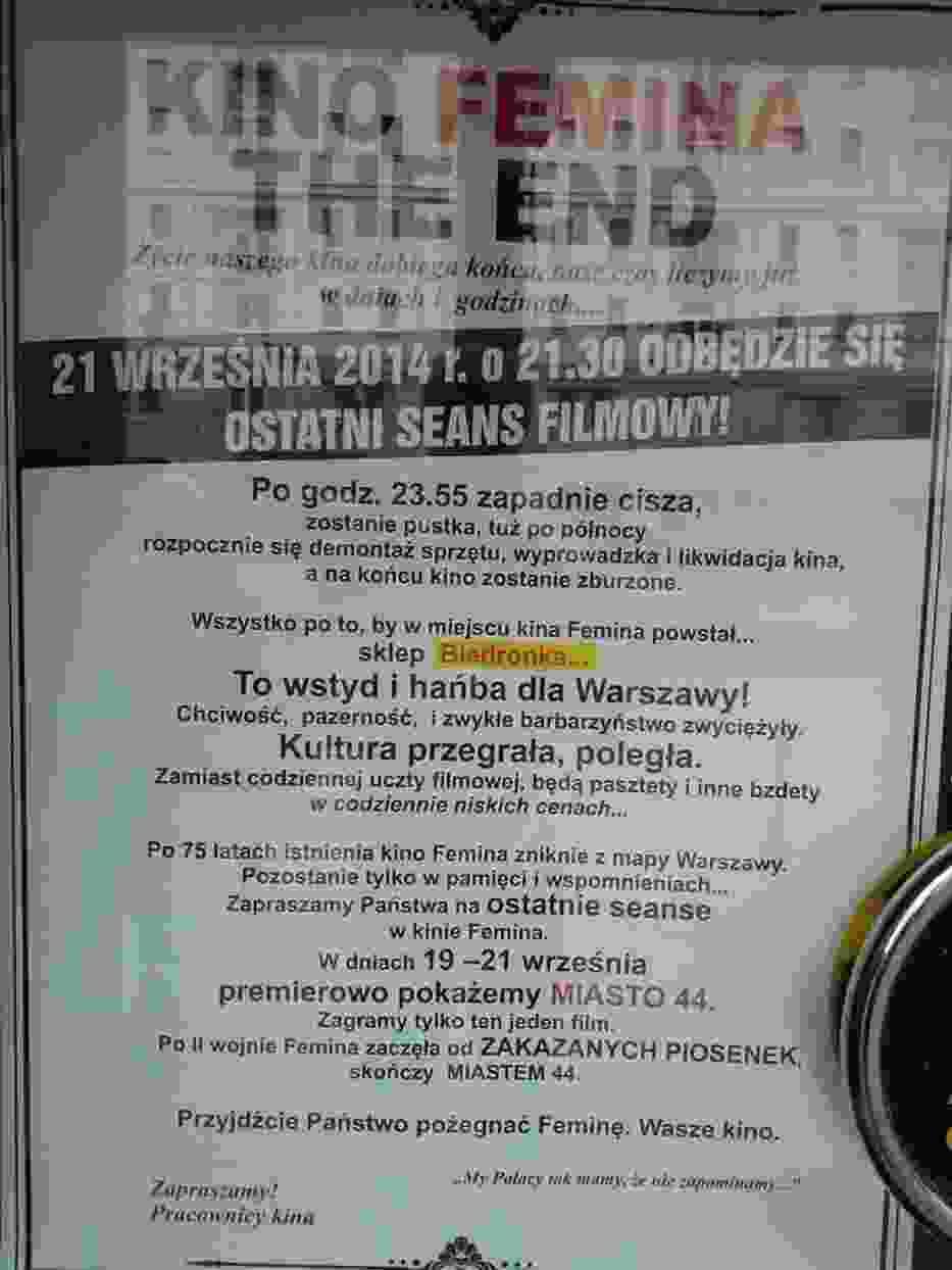"""Kino Femina pożegna się z nami """"Miastem 44"""""""