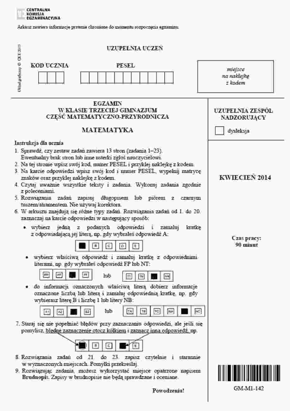 Test gimnazjalny 2014. Matematyka