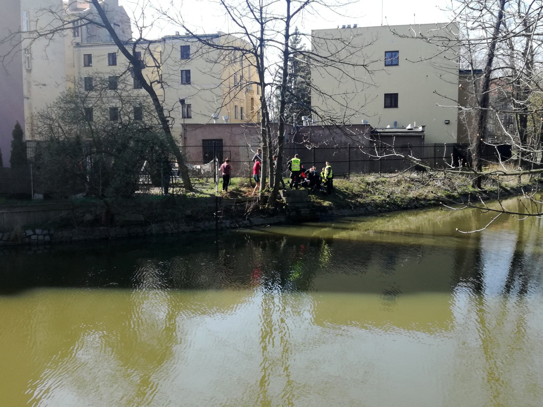 Policjanci wspólnie z żołnierzami WOT ratowali w Kaliszu mężczyznę, który topił się w Prośnie
