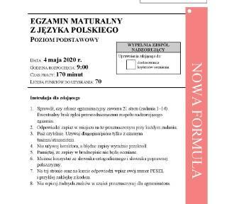 Matura 2020 JĘZYK POLSKI podstawa - ARKUSZE CKE