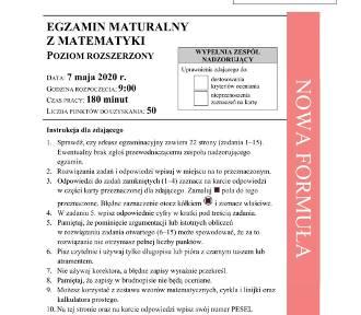 """Matematyka matura 2020 CKE rozszerzenie: odpowiedzi, rozwiązania i arkusz. """"Zadania na maturze"""
