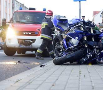 Wypadek w Kaliszu. Motocykl zderzył się z autem na ulicy Górnośląskiej [FOTO]