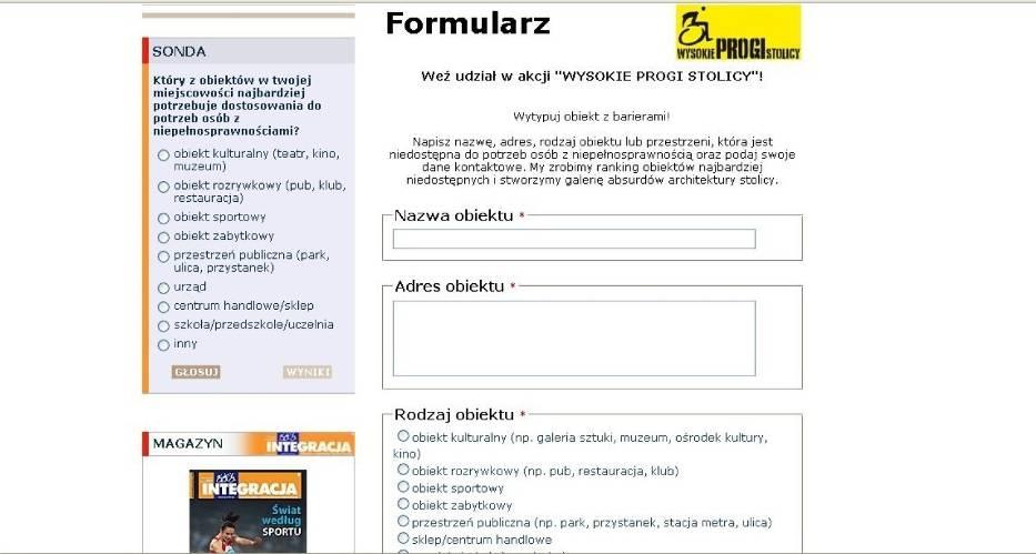 screen strony z formularzem