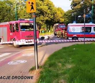 Wypadek w Tychach. Samochód zderzył się z motocyklistą