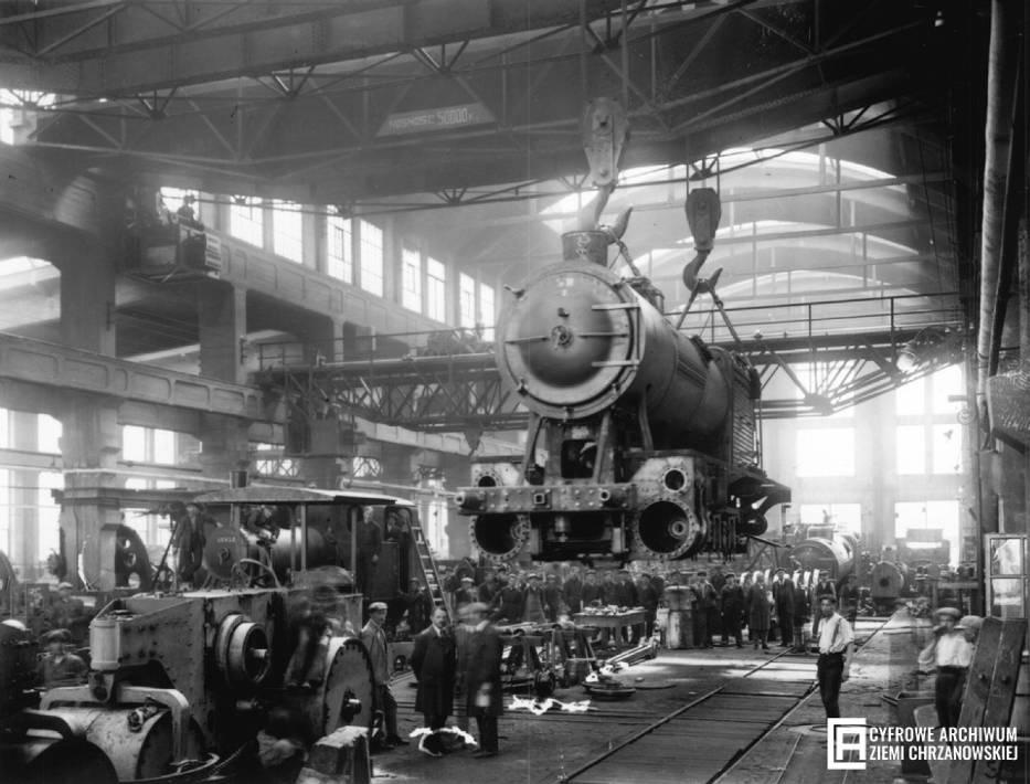 <center>Pierwsza polska fabryka lokomotyw parowych, Chrzanów, 1923</center>