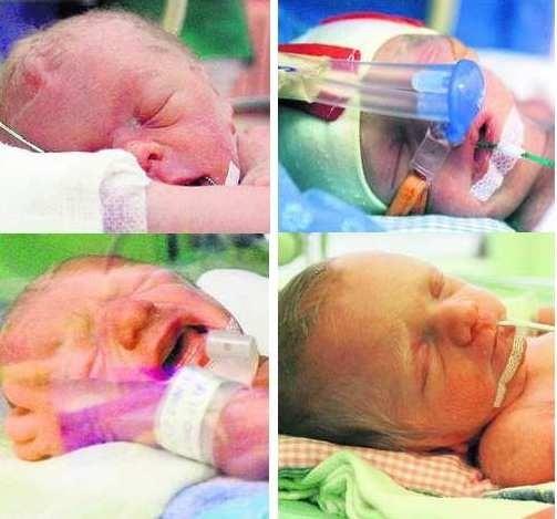 Borys i jego trzy siostry Julia, Emilka i Zuzia pierwszy dzień życia spędzili oczywiście w inkubatorach
