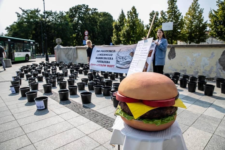 Na chodniku obok bramy pałacowej stanęły wiaderka i wielki burger