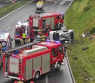 Groźny wypadek na DTŚ w Rudzie Śląskiej. Wezwano LPR