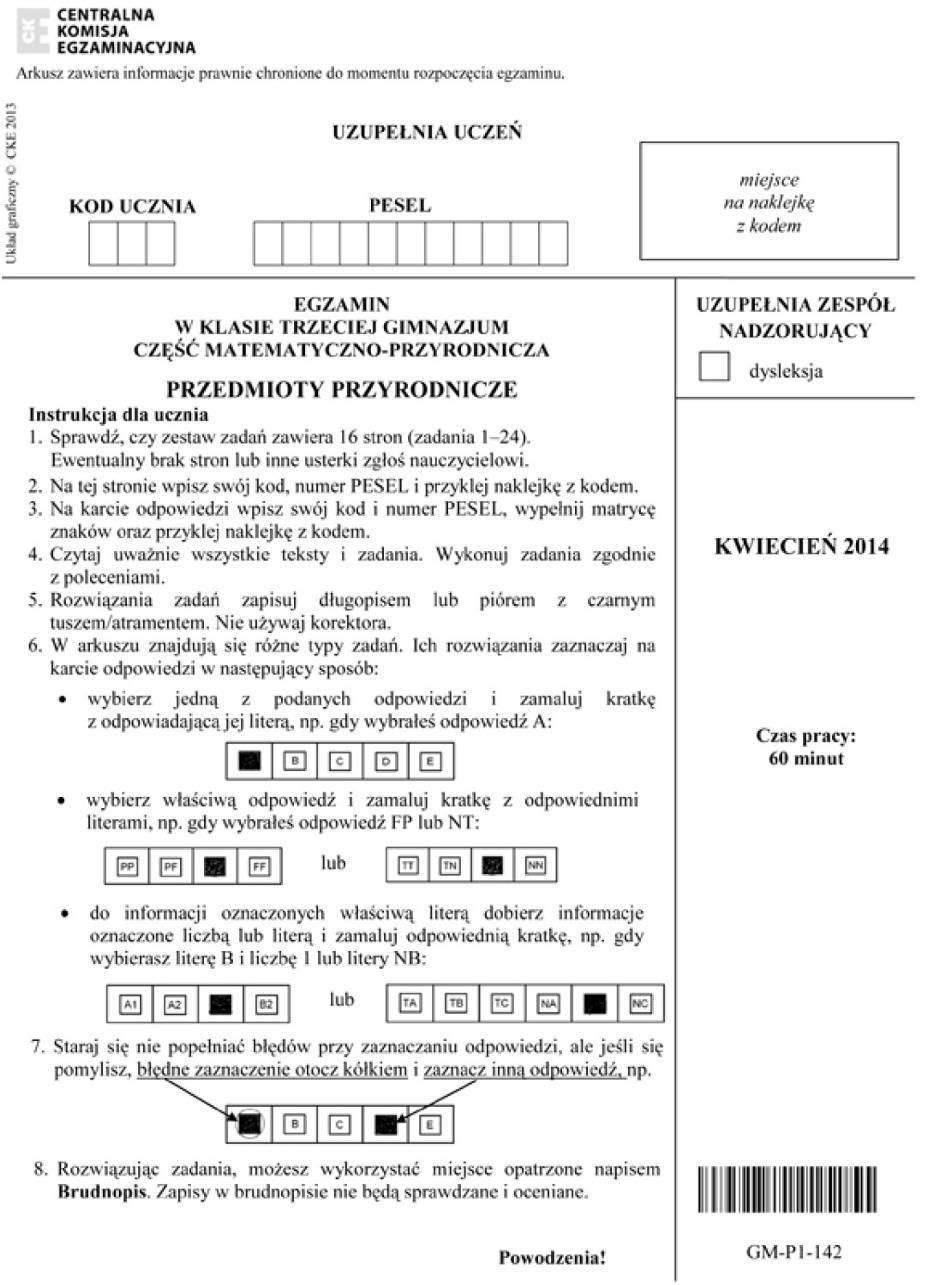 Egzamin gimnazjalny 2014 CKE