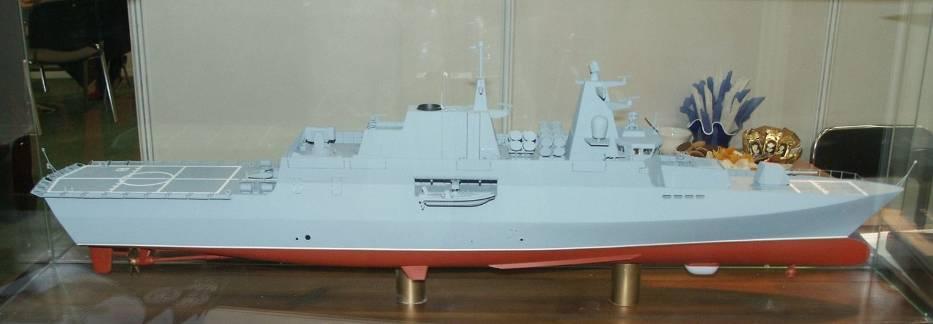 Model korwety ORP Ślązak pokazany na targach zbrojeniowych w Kielcach