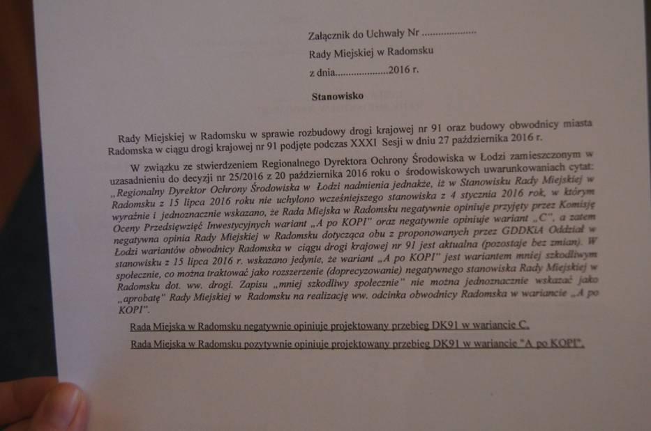Kolejne stanowisko rady w sprawie przebiegu obwodnicy Radomska