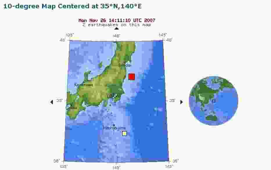 Miejsce wystąpienia trzęsienia ziemi (czerwony kwadrat)